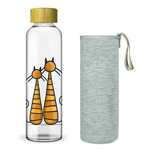 Wenburg Trinkflasche/Glasflasche mit Print und Bambus Deckel 550/750/1000 ml, Neopren Hülle. Sportflasche/Wasserflasche aus Glas. Für Unterwegs. Für Tee, Wasser, Smoothie (1 l, Katzen)