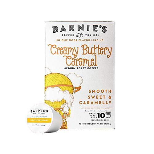 Barnie's Coffee & Tea Creamy Buttery Caramel Single Serve Coffee, K Cups for Keurig Brewers, Medium Roast, Arabica Coffee Beans, 10 Single Serve Cups