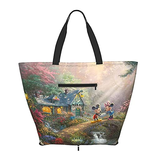 Mickey Minnie Mouse Cartoon Tote Bag Shoulder Handle Simplicity Style Big Capacity Shopping Bag Gym Beach Travel Daily Unisex Foldable