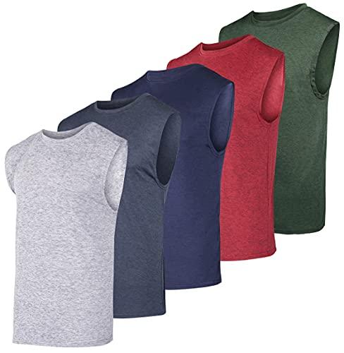 Paquete de 5 unidades: Camiseta deportiva atlética de tecnología deportiva para hombre de Dry-Fit – Ropa para Entrenamiento y ejercicio