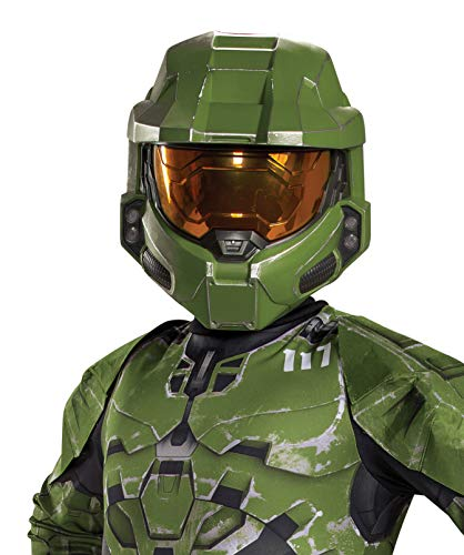 Disguise Halo Infinite Master Chief Mask, Kids Costume Headwear Accessory, Child Size Video Game Inspired Vacuform Half-Mask, Green & Gold, Childrens Size (105029)
