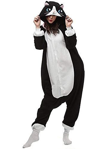 ABYED® Kostüm Jumpsuit Onesie Tier Fasching Karneval Halloween kostüm Erwachsene Unisex Cosplay Schlafanzug- Größe L-für Höhe 164-174CM, Schwarze Katze