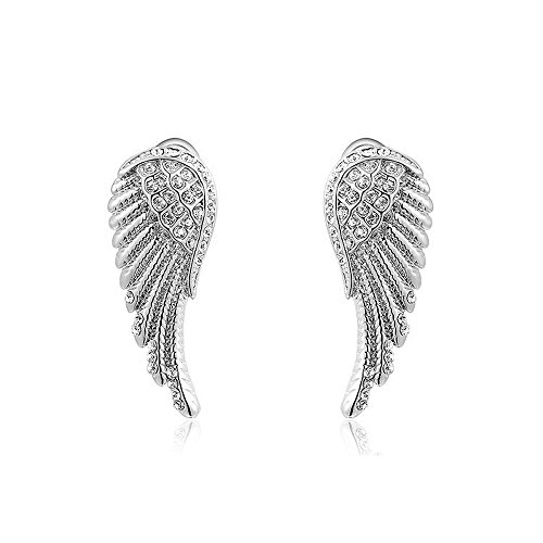 Damen Ohrstecker Ohrringe Flügel Wings Engelsflügel vergoldet Zirkonia Kristall silber