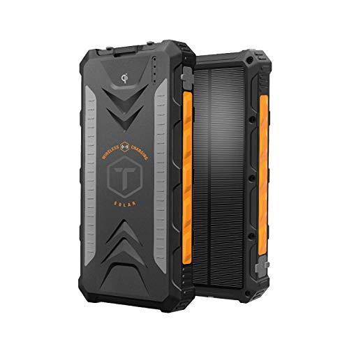 ToughTested - 10000mAh Solar Charger Portable Battery Pack Wireless Waterproof Charger IP65 Rating