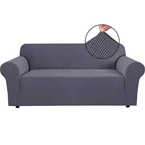 BellaHills Fundas de sofá elásticas Fundas de sofá de 4 plazas para Sala de Estar Fundas de sofá Fundas con Fondo elástico, Tela Jacquard Gruesa Suave Lavable (sofá de 4 plazas, Gris)