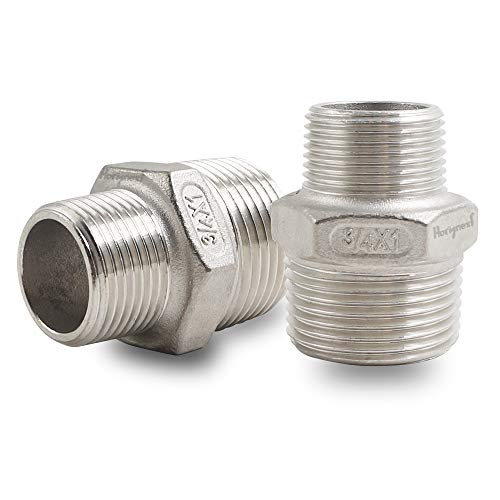 Horiznext male threaded stainless steel 304 hex pipe fitting, NPT 1 inch to 3/4 in. reducer (Pack of 2)