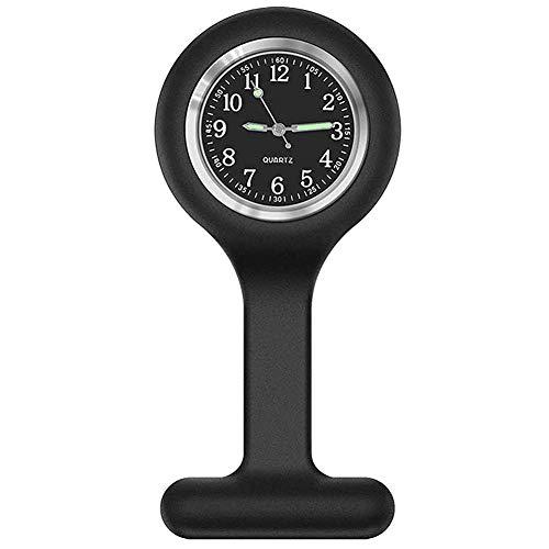 Broche Broche Enfermera Médica De Reloj De Silicona Reloj De Bolsillo Cuidado De La Salud para Enfermera Paramédico Fob Watch (Negro)
