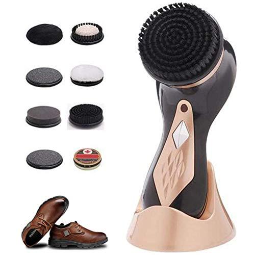 Elektrische schoenpoetskit - Snelle en gemakkelijke glans, draagbare handmachine voor leren schoenen Poets- en verzorgingsproducten, 7 borstels, zwart-bruine schoencrème, lederen conditioner-set