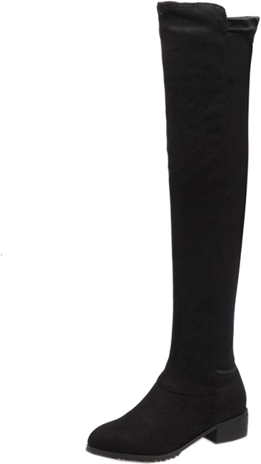 Melady Women Fashion Low Heel Over The Knee Boots