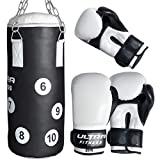 ULTRA FITNESS Kids Boxing Punch Bag Set Junior Filled Heavy With Gloves & Chain MMA Training