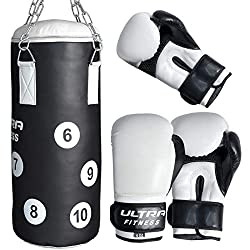 Junior punch bag is made of double layers of leather for enhanced durability Chain length is 45cm approx from top to bottom. High Quality Rex Leather Padded gloves are easy to use and comfortable to wear during boxing matches Ideal for Boxing, Sparri...