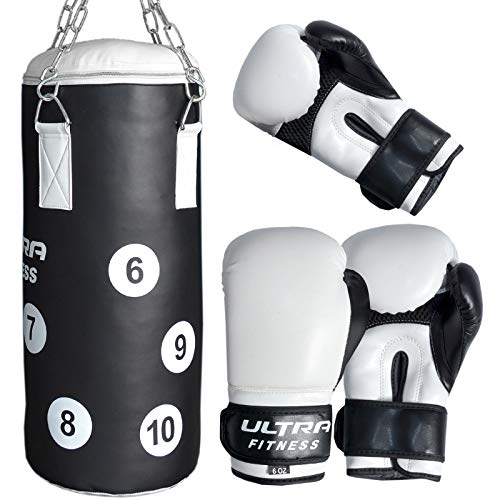 ULTRA FITNESS Kids Boxing Punch Bag Set Junior Filled Heavy With Gloves &...