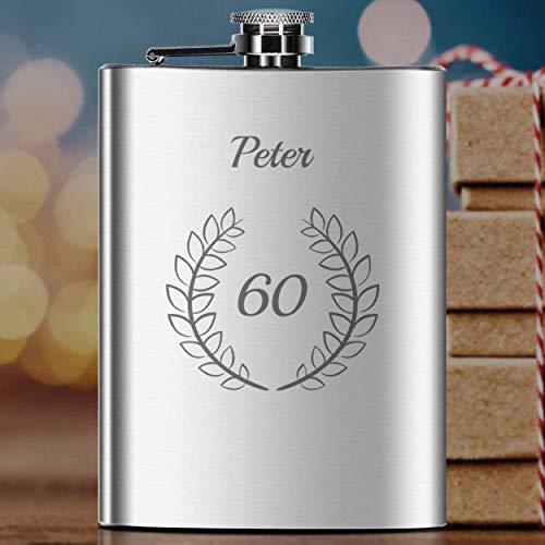 Flachmann 60. Geburtstag mit Gravur | personalisierte Schnapsflasche mit Wunsch-Namen aus rostfreiem Edelstahl, Campingzubehör | Geschenk-Idee Geburtstag