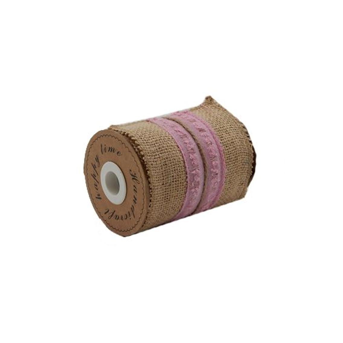 Green Pastures Wholesale Burlap Ribbon, 4-Inch by 3-Yard, Pink
