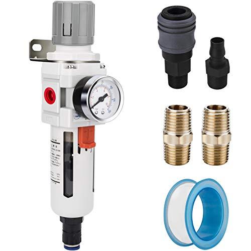NANPU 1/2' NPT Compressed Air Filter Regulator Combo Piggyback, Auto Drain, 5 Micron Brass Element, Poly Bowl, Metal Bracket, 0-150 psi Gauge