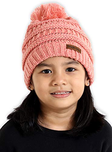 Kids Pom Pom Beanie - Fits Girls, Boys, Babies, Toddlers & Children Ages 2 & Up - Thick, Soft & Warm Cable Knit Hats - Cozy Kids Cold Weather Chunky Hat for The Winter Season