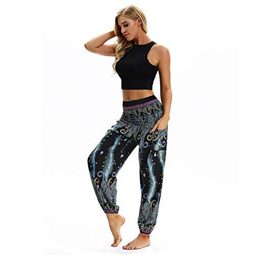 NSYJK yogabroek voor mannen en vrouwen, casual losse hippie yogabroek met hoge taille leggings voor vrouwen en polyester in volledige lengte drukken