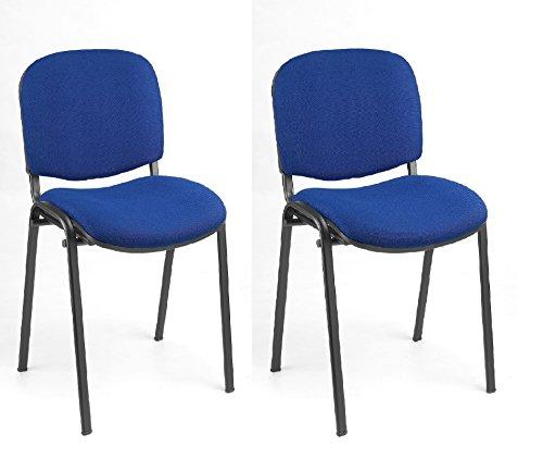 2X Besucherstuhl Stühle Konferenzstuhl Saalstuhl Warteraumstuhl Büromöbel stapelbar blau 220201