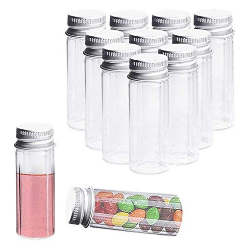 KINDPMA 15 Stück Reagenzglas 40ml Reagenzgläser Kunststoff Reagenzglas Klein Reagenzröhrchen Transparent Reagenzgläser Gastgeschenke für Hochzeit M&M Salz Mandeln Gewürze Blumen