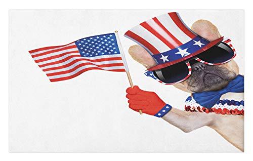 ABAKUHAUS 4 de Julio Tapete, Perro del Barro Amasado patriótico, Decorativo con Fieltro de Poliéster Estampado Base Antideslizante, 45 cm x 76 cm, Multicolor