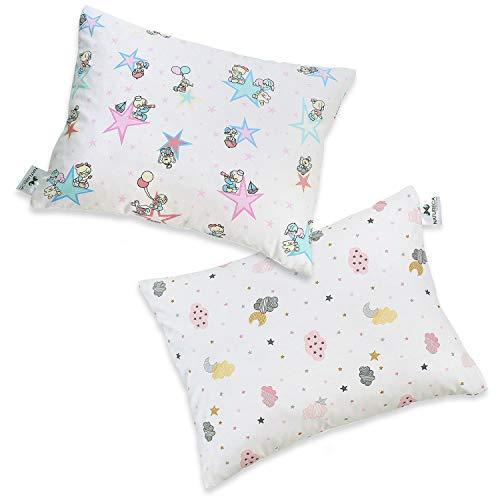 JUNIO Pack de 2 Almohada Para Niños de Micro esferas finas, Almohada relleno de Fibra hueca recubiertos de silicona lavable 30x40 cm, Funda de almohada para bebé de algodón