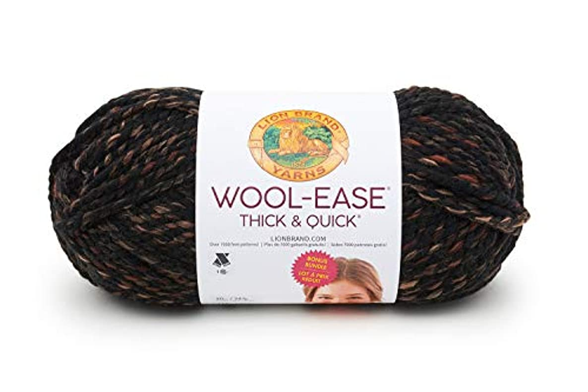 Lion Brand Yarn 641-539 Wool-Ease Thick & Quick Bonus Bundle Yarn, One Skein, Toasted Almond