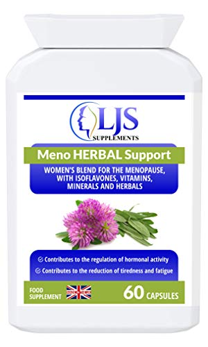 LJS Supplements Meno Herbal Support - for Hormonal Imbalance - Menopausal Symptoms - Difficult Monthly Cycles - Menstrual Cramps - Hot Flushes - Mood Swings - Made in The UK.