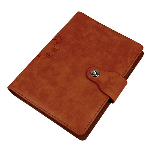 EzSos Leather Notebook Cover, Refillable Writing Journal Cover with Business Card Pocket, Travel Diary Cover with Magnetic Buckle, 6 Round Ring PU Leather Binder Cover for A5 Filler Paper, Brown