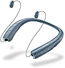 Bluetooth Headphones Speaker 2 in 1,Bluenin Bluetooth Wireless Headphones Neckband with Mic Sweatproof Wearable Speaker Retractable Earbuds with Carrying Case (Navy Blue)