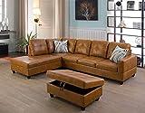 Ainehome Furniture Sectional Sofa Set, Living Room Sofa Set, Leather L Shape Sofa(Left Hand Facing,Ginger)
