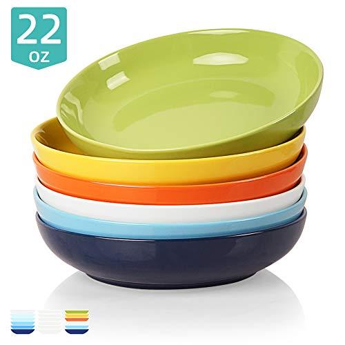 Sweejar Ceramic Pasta Bowls Set, 22 OZ for Salad, Soup, Cereal, Set of 6(Multicolour)