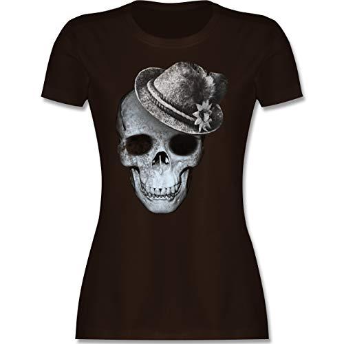 Oktoberfest Damen - Totenkopf mit Filzhut - L - Braun - Trachten Tshirt Damen - L191 - Tailliertes Tshirt für Damen und Frauen T-Shirt
