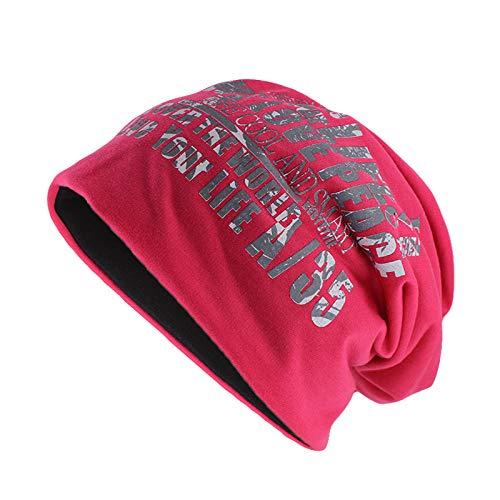Bonnet Unisexe Chapeau tricoté Homme Beanie Hats, Unisexe Coton Chapeau Chaud pour Les Hommes d'hiver Bonnets Skullies Lettre Marque Vendre Femmes @ Pink_52-60CM