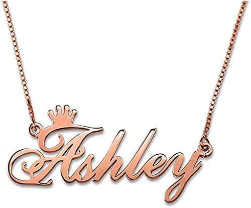 Collar de plata de ley 925 YCHZX nombre personalizado collar de corona colgante de plata de ley 925 regalo para parejas, amigos, madres Oro rosa