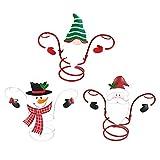 ZEEQJ Holiday Wine Bottle & Glass Holders Christmas Theme Organizer Rack Festival Home Desktop Decoration