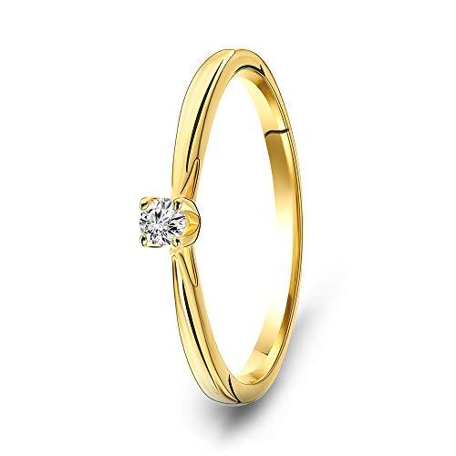Miore - Anello da donna con solitario in oro giallo 9 carati 375 e diamanti 0,07 carati e Oro giallo, 56 (17.8), cod. MAC024R56