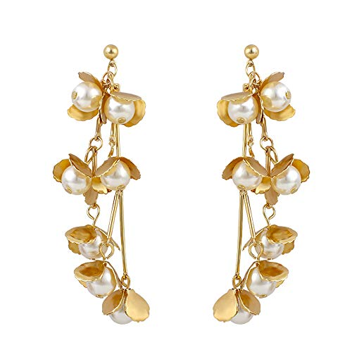 NOBRAND Pendientes De Mujer Pendientes Colgantes Largos De Flores De Perlas De Metal Dorado