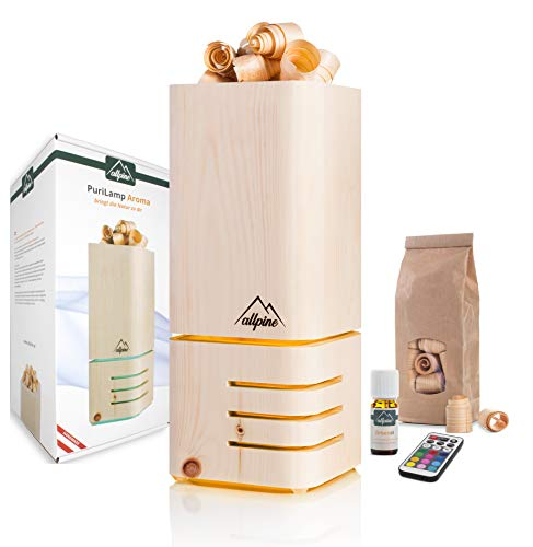 Allpine PuriLamp – Natürliche Lufterfrischer und Lampe handgemacht aus Zirbenholz – Holz Diffuser für frisches Zirbe Aroma – Zirben Raumlüfter mit Zirbenöl 20ml