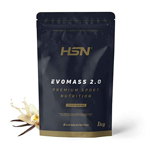 Ganador de Peso y Masa Muscular de HSN | Evomass 2.0 | Weight Gainer: Carbohidratos (Maltodextrina + Harina de Avena) + Whey Protein | Vegetariano, Sabor Vainilla, 1Kg