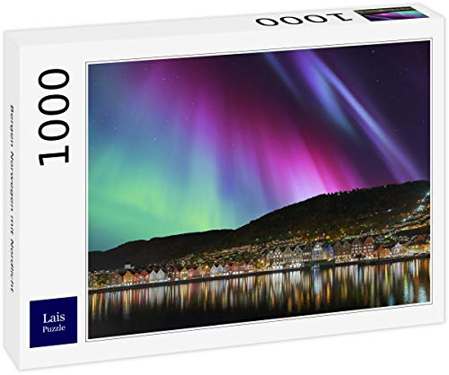 Lais Puzzle Bergen Noruega con la Aurora Boreal 1000 Piezas