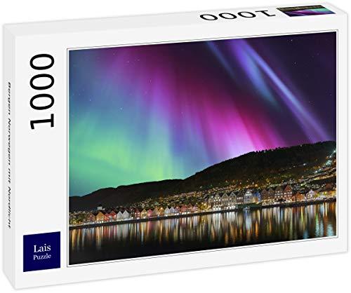 Puzzle Bergen Noruega con la Aurora Boreal 1000 Piezas