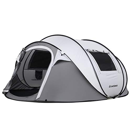 EchoSmile Camping Instant Tent, 2 to 8 Person Pop Up Tent, Water Resistant Dome Tent, Easy Setup for Camping Hiking and Outdoor, Portable Tent with Carry Bag, for 4 Seasons (White&Gray(4-6 Person)