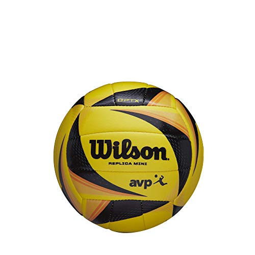Wilson OPTX AVP VB Replica Mini Ballon de volleyball Unisex-Adult, Yellow/Black/Orange