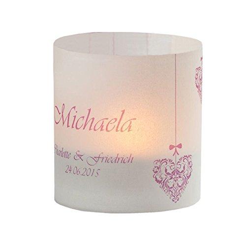 Meine Hochzeitsdeko Tischkarte Windlicht Vintage Herz Rosa mit Druck: Platzkärtchen, Tischkärtchen, Tischdeko für Hochzeit, Geburtstag, Taufe, Kommunion