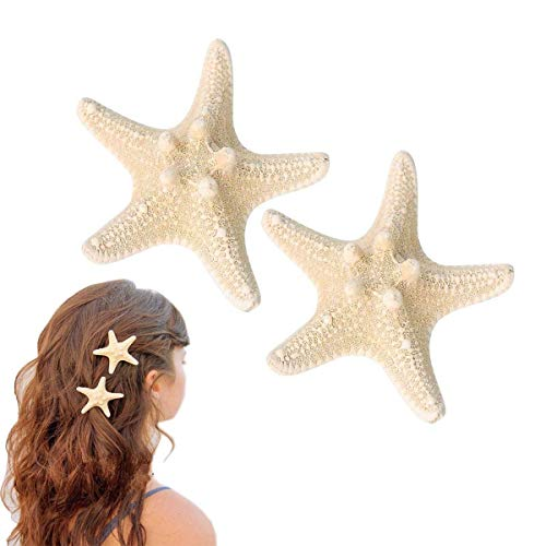 Starfish Hair Clip, Sea Star Hair Clips, Pretty Beach Hairpin Resin Hair Barrettes Mermaid Accessories for Women and Girls (2pcs)