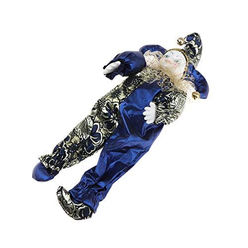 Perfeclan Miniatur Porzellan Puppen Clown Figur Harlekin Zirkus Puppe im Bunte Outfit Spielzeug Dekoration - D- 33 cm