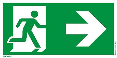 Hochwertiges Notausgangsschild + selbstklebend - Pfeil RECHTS - Notausgang Schild grün – DIN 67510 / ISO 7010 (300 x 150 mm)