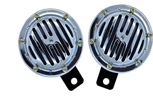 Iron clutch Waterproof Universal Silver Horns for All Bikes and Cars- Set of 2 (12 V)