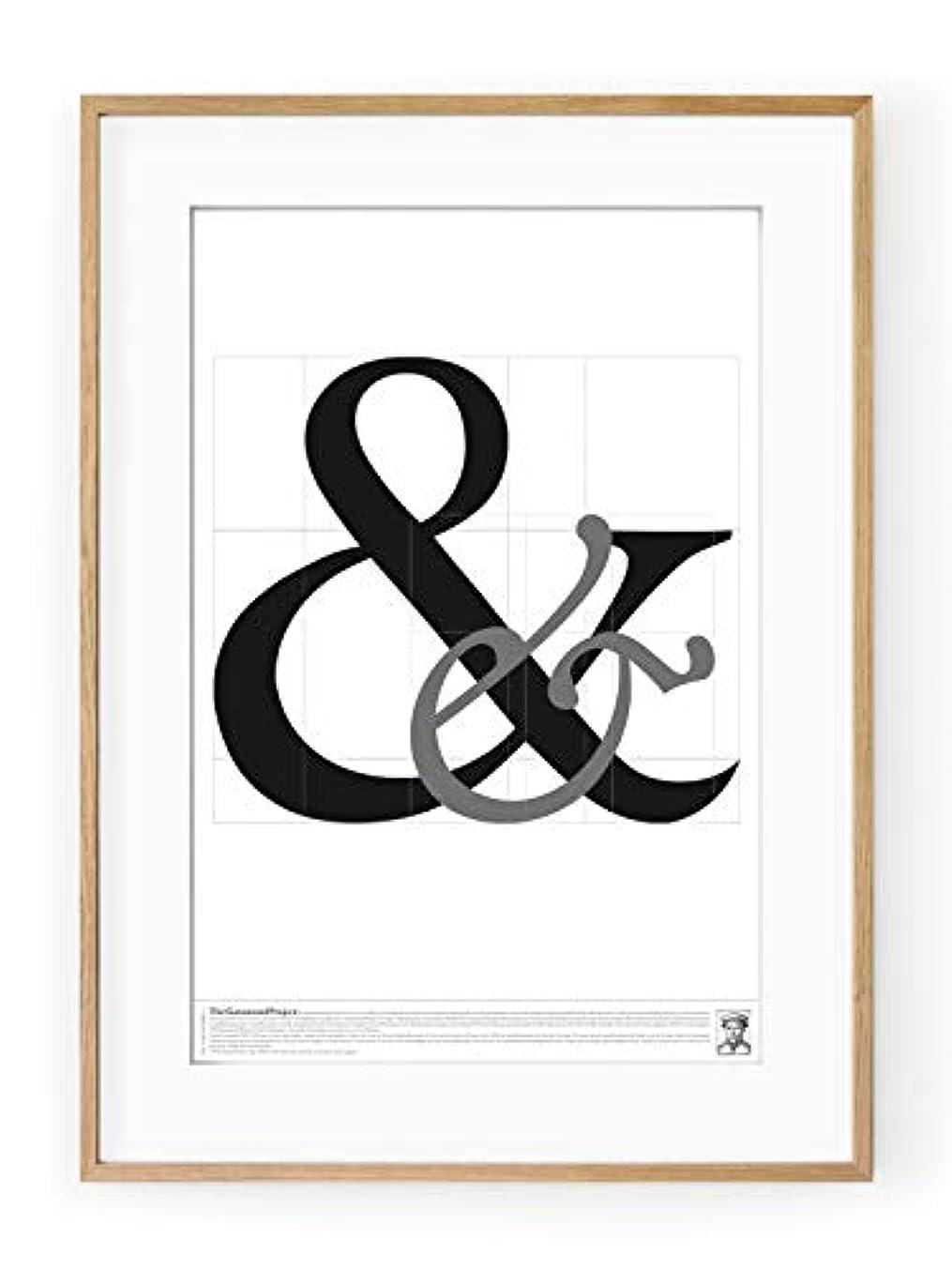 Garamond '&' Black Satin Aluminium Frame, Full Size, Multicolored, 30x40
