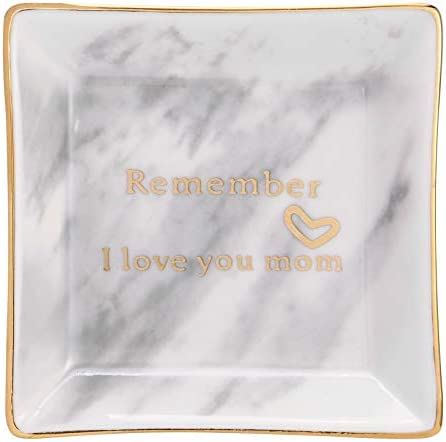HOME SMILE Ceramic Ring Dish with Marble Pattern Decorative Trinket Plate Remember I Love You product image